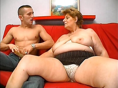 Chubby mature fucks young man